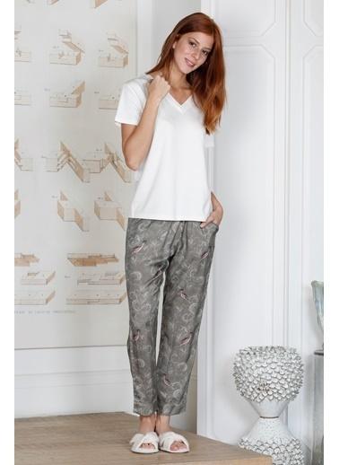 Hays Glamour Kadın Üst Penye Alt Cupro Pijama Takımı Ekru
